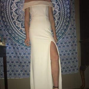 LuLu's White Off Shoulder Formal Dress